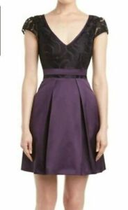KAREN-MILLEN-Purple-Black-Fit-amp-Flare-Special-Occasion-Cocktail-Dress-Uk-12
