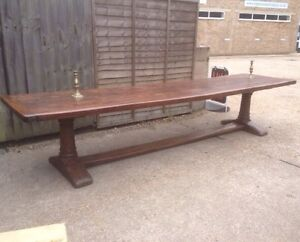 Image Is Loading Antique Early Solid Oak Refectory Table 12ft X