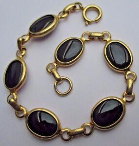 Bracelet Bijou Vintage Maillon Double Face Pierre Noir Couleur Or 2243 100% De MatéRiaux De Haute Qualité
