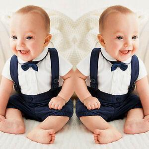 4f7d6fc1254 Details about 2PCS Toddler Baby Boy Summer Formal Party Suit Tie Shirt Tops  +Bib Pants Clothes
