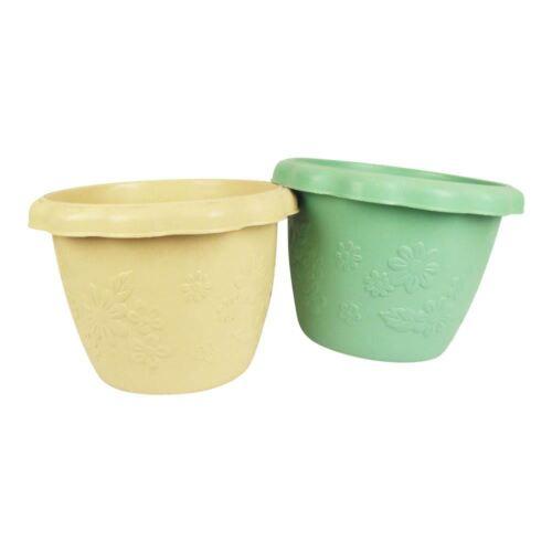 Plastic Flower Embossed Planter Pots Fibreglass Plant Soil Herb Container