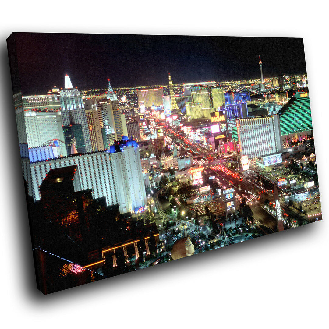 SC227 Las Vegas Night Skyline  Landscape Canvas Wall Art Large Picture Prints