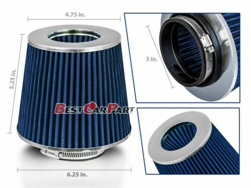 """3 Inches 3/"""" 76 mm Cold Air Intake Cone Filter Quality BLUE Acura//Honda"""