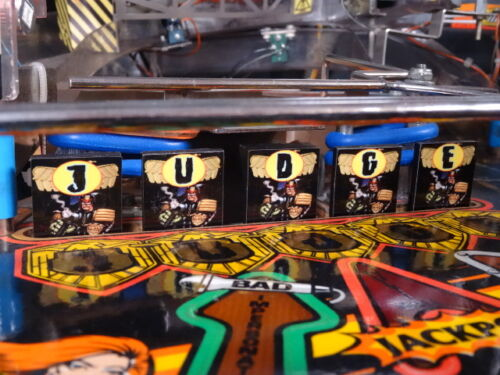 Bally Judge Dredd Pinball Machine Drop Target Decal Set.