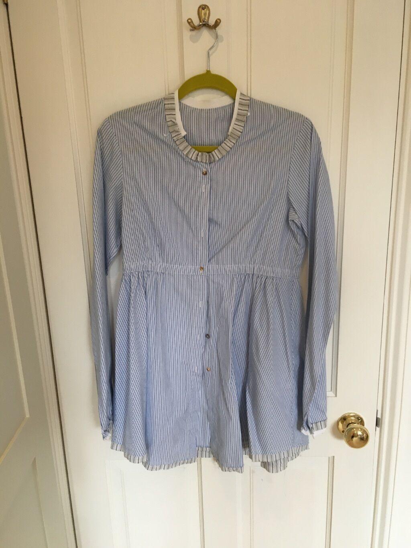 Cabbages & Rosas Blau and Weiß Stripe Shirt, Größe 14, VGC