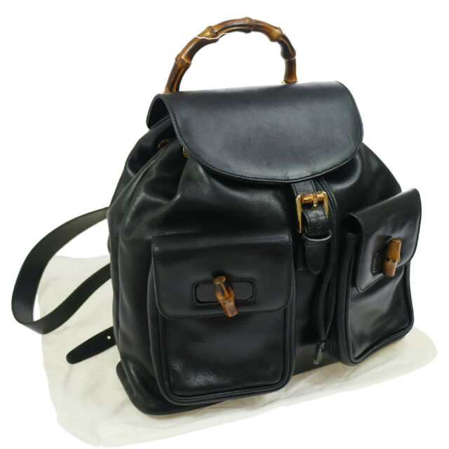 a34248bfb35 Authentic GUCCI Bamboo Line Backpack Black Leather Vintage GHW GOOD AK17630