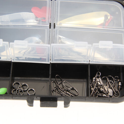 37pcs Metal Spoon Fishing Lure Kits Spinning with Box Tackle Hook Casting Lures