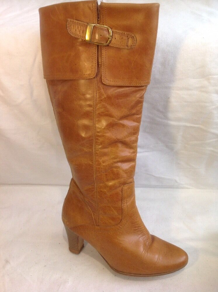 Next Beige Knee High Leather Boots Size 37