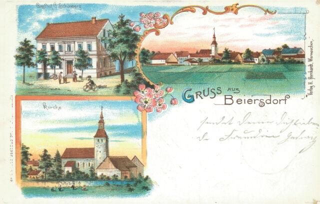 Ansichtskarte Beiersdorf 1904 Gasthof Schönberg Kirche Total  (Nr.812)