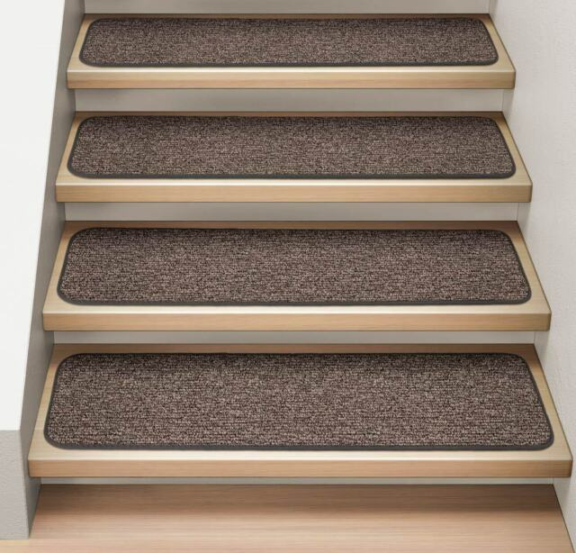 Set of 15 ATTACHABLE Carpet Stair Treads PEBBLE GRAY runner rugs