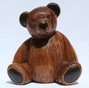 Wooden-Teddy-Bear-23cm-tall-handcarved-from-Acacia-wood-in-Thailand-Fair-Trade