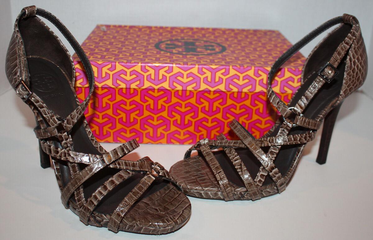 NIB Womens Tory Burch Elizabella Italian Croc Heels shoes Size 9