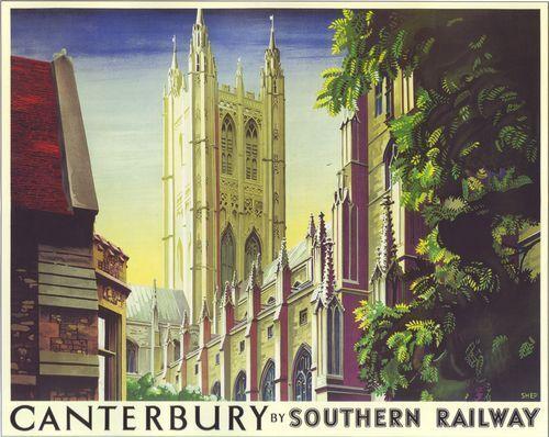 A2 Print Vintage Southern Railways Canterbury Kent Railway Poster A3
