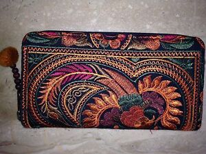 Disney-World-Upcycled-A-Mano-Fair-Trade-Wallet-Clutch-Rust-Embroidered