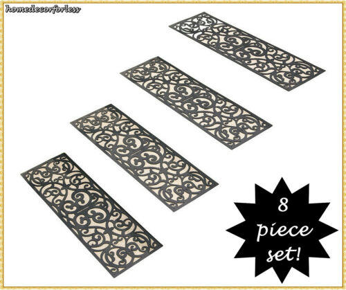 SET OF 4 RUBBER STAIR STEP TREADS MATS SCROLLED BUTTERFLY OUTDOOR PORCH TRACTION