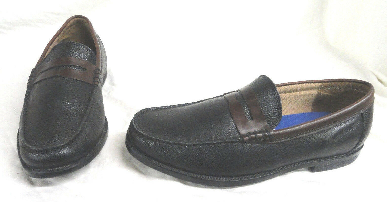 FLORSHEIM CRICKET PENNY, MENS noir LEATHER LOAFER chaussures, Taille 8.5 PRE-OWNED