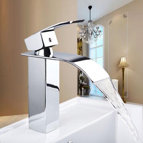 AS Bathroom Waterfall Basin Chrome Mixer Single Handle Faucet Deck Mounted Taps