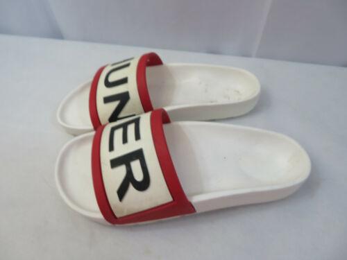 Hunter Rubber Logo Slides Sandals Slip On White Red Shoes Size 7 Used