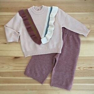 ZARA Baby Knitwear Pink Ruffle Sweater Set Outfit Size 9 ...