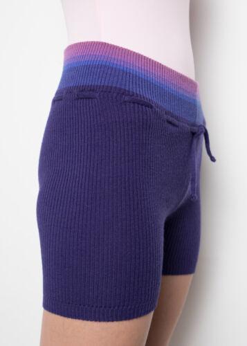 Adults GRISHKO Warm Up Knit Dance Shorts 06202 Blue Stripe Merino Wool Girls