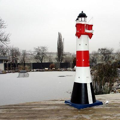Leuchtturm roter Sand 24 cm Kunstharz Blinklicht maritime  Deko rot weiss