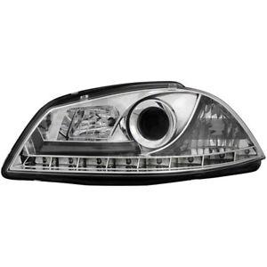 2-X-Phare-pour-Seat-Ibiza-6L-03-08-LED-Eclairage-Diurne-Optique-Chrome