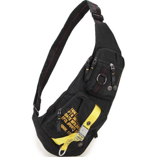 Men Nylon Sling Chest Back Pack Travel Hiking Ride Crossbody Single Shoulder Bag