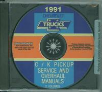 1991 Chevrolet C/k Pickup Factory Shop & Overhaul Manual On Cd