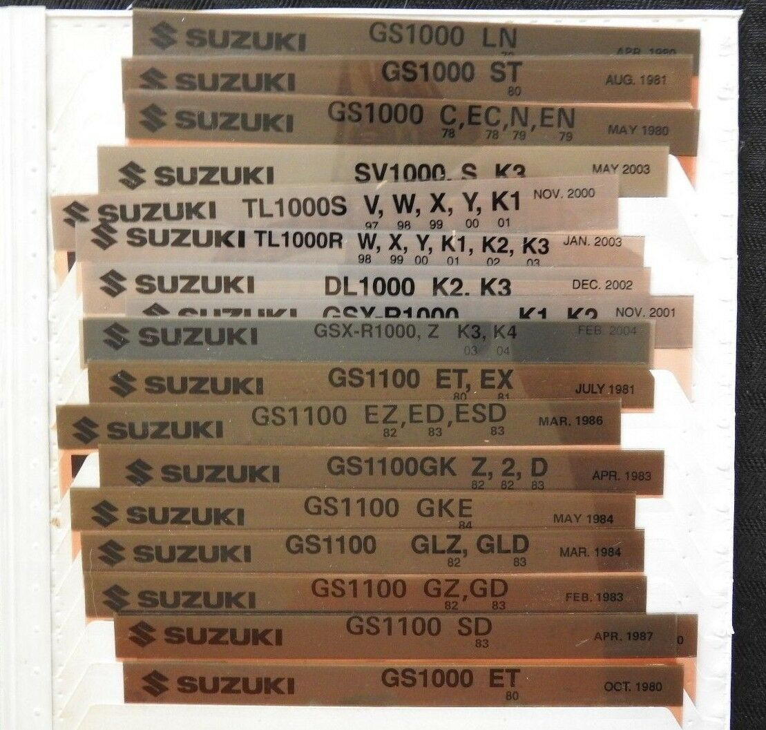 1981-03 SUZUKI GS GSXR SV TL 850 1000 1100 MOTORCYCLE MICROFICHE PARTS MANUALS