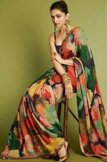 Digital Print On Saree Sequence Work On Lace Georgette Saree Georgette Blouse With Digital Print And Sequence Work on Blouse