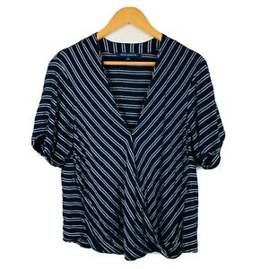 French-Connection-Womens-Top-Size-10-Navy-Blue-Stripe-Short-Sleeve-Good-Conditio