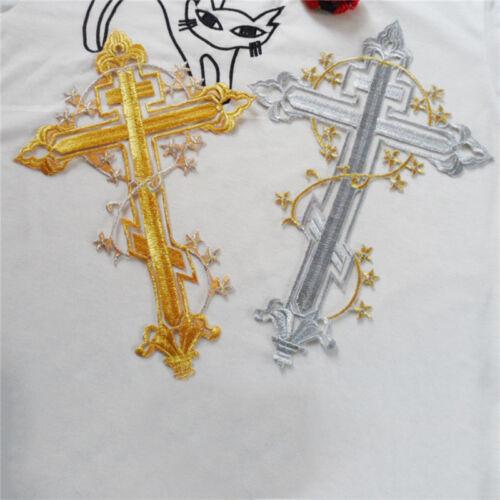 Zwei Verschiedene Stil L8K0 Gothic Kreuz iron Applique Patch Golden und Silver