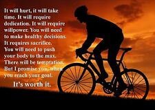 CYCLING  INSPIRATIONAL / MOTIVATIONAL  POSTER PRINT PICTURE (Q) A4 WITH FRAME