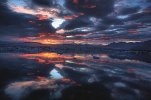 ICELAND PHOTO ART PRINT Icelandic Sunset by Maciej Duczynski POSTER 13x19