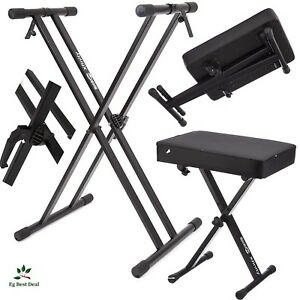 piano keyboard stand and bench stage double branded heavy duty padded adjustable 658987904677 ebay. Black Bedroom Furniture Sets. Home Design Ideas