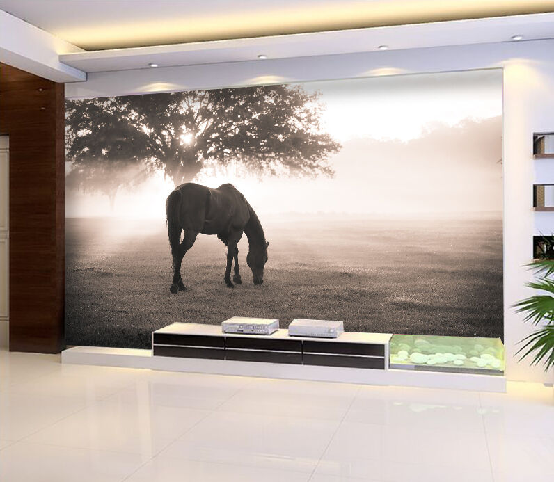 3D Grazing horse 87 Wall Paper Wall Print Decal Wall Deco Indoor wall Murals