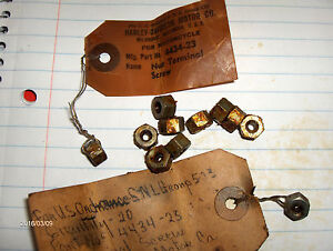Harley Battery Terminal Screw Nuts 45 Flathead Knucklehead Panhead VL 7628 nos