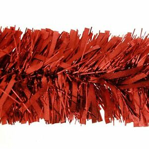 2m (6.5ft) Deluxe Thick Chunky Wide Red Shiny Christmas Tree Tinsel Garland w...