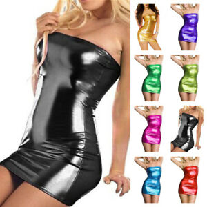Womens-PU-Leather-Bodycon-Bandeau-Short-Mini-Dress-Wet-Look-Lingerie-Club-Wear