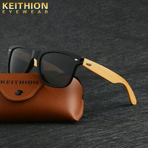 KEITHION-Bamboo-Wooden-Polarized-Sunglasses-Mens-Womens-Retro-Vintage-Glasses