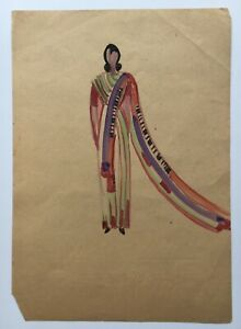 Art-Deco-Modezeichnung-Aquarell-Frau-im-Kleid-Anonym-29-5-x-21-cm