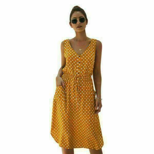 Maxi summer Womens sundress Party Long Cocktail Fashion beach V Neck Sleeveless