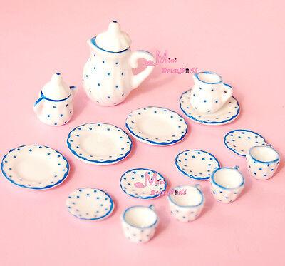 LOT OF 15 BLUE DOTS Dollhouse Miniature porcelain China Coffee Tea Lid Pot Cups