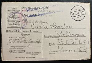 1944-Germany-Stalag-13D-POW-Prisoner-of-War-Postcard-Cover-To-Vicenza-Italy