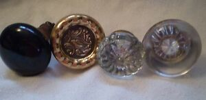 Vintage Knobs Black Porcelain Glass Brass (4)