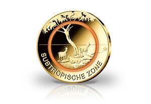5 Euro-Gedenkmünze ,Subtropische Zone, 2018,  mit orangen Polymerring,vergoldet