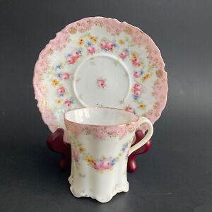 1800s Ultra Fine Tea Cup and Saucer Footed Demitasse Cabbage Rose Pink Gold Trim