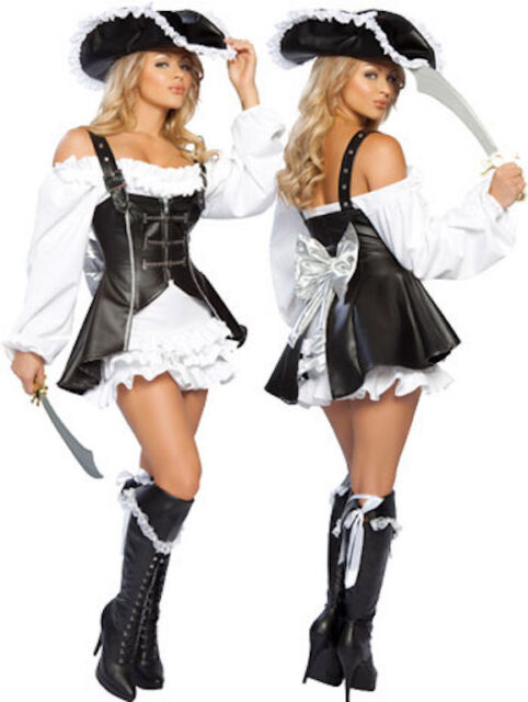 REDUCED 3 Piece Black Faux Leather Elaborate Pirate Costume/Dress & Hat Size 10