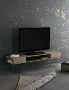 TV-Lowboard-Glas-Fernsehschrank-mit-Ablage-Eiche-Sonoma-150x40x40-TV-Rack