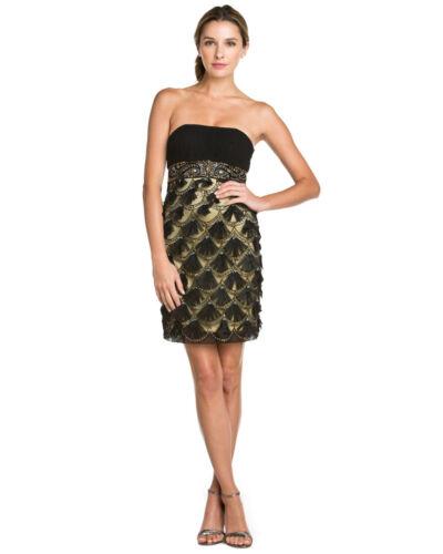 Nwt gold Schleife Schleifen Schwarz Trägerlos 6 Anlass Kleid Wong Cocktail Sue qwqrOR7